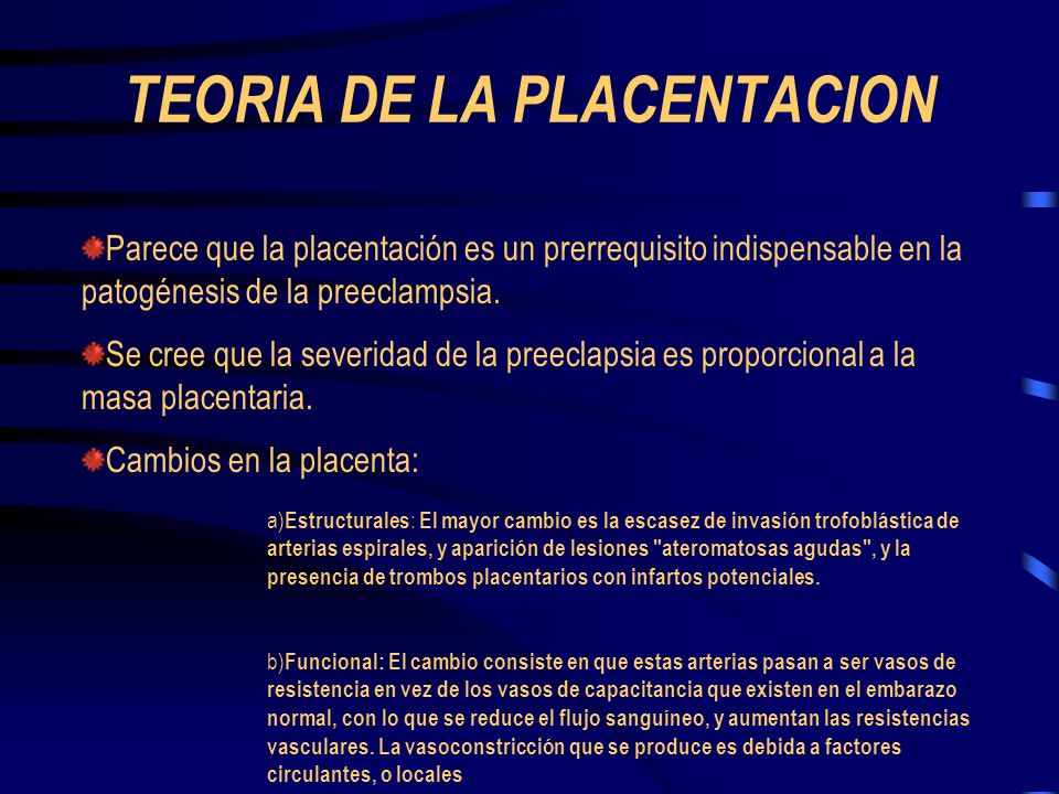 TEORIA DE LA PLACENTACION