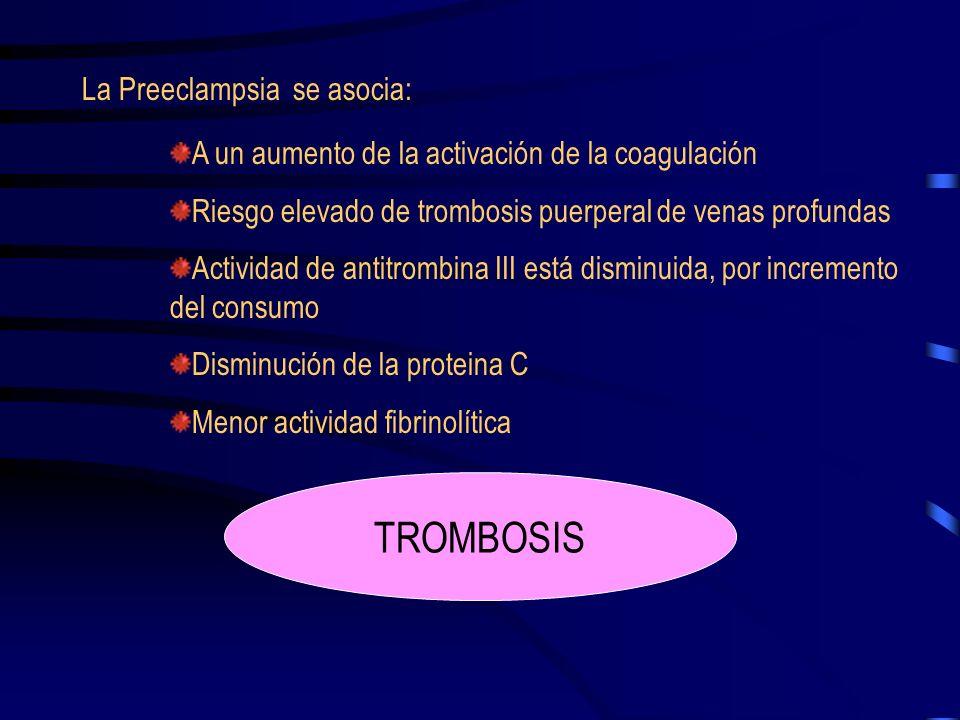 TROMBOSIS La Preeclampsia se asocia: