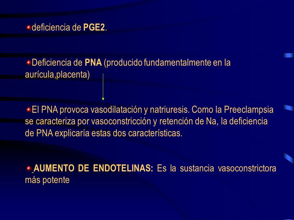 deficiencia de PGE2. Deficiencia de PNA (producido fundamentalmente en la aurícula,placenta)
