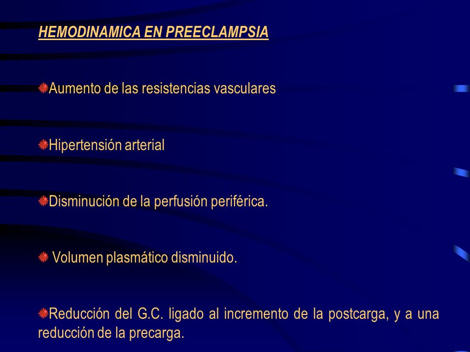 HEMODINAMICA EN PREECLAMPSIA