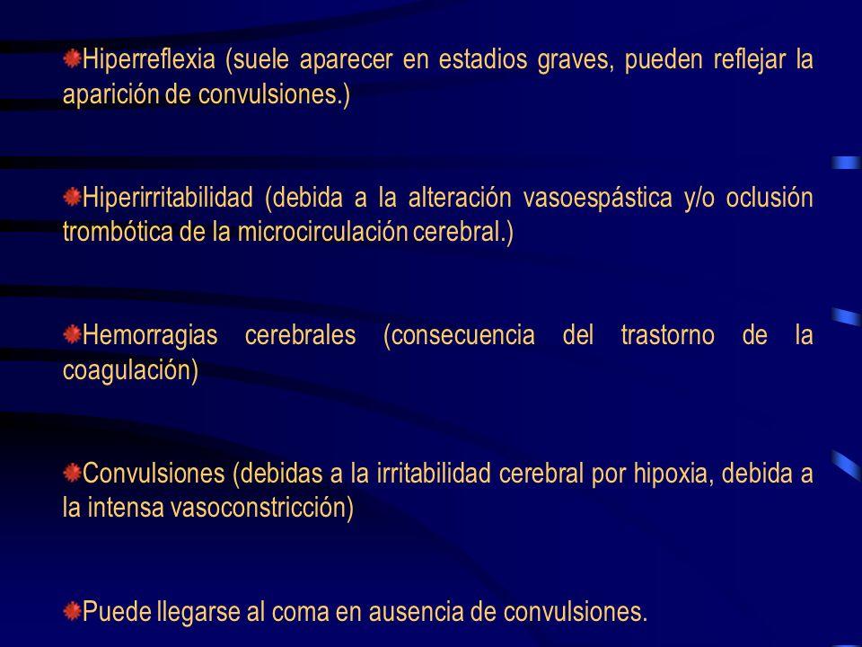Hiperreflexia (suele aparecer en estadios graves, pueden reflejar la aparición de convulsiones.)