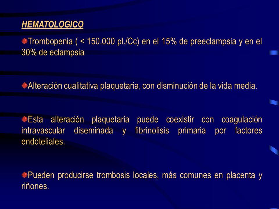 HEMATOLOGICO Trombopenia ( < 150.000 pl./Cc) en el 15% de preeclampsia y en el 30% de eclampsia.