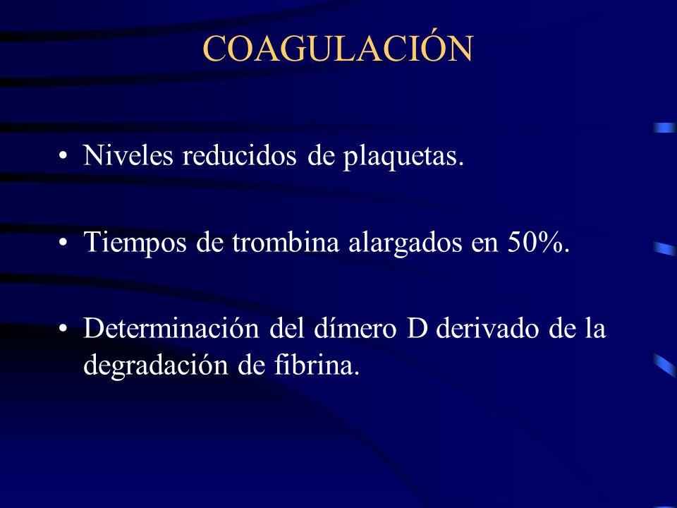 COAGULACIÓN Niveles reducidos de plaquetas.