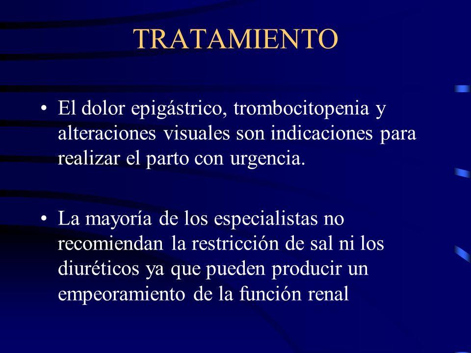 TRATAMIENTO El dolor epigástrico, trombocitopenia y alteraciones visuales son indicaciones para realizar el parto con urgencia.