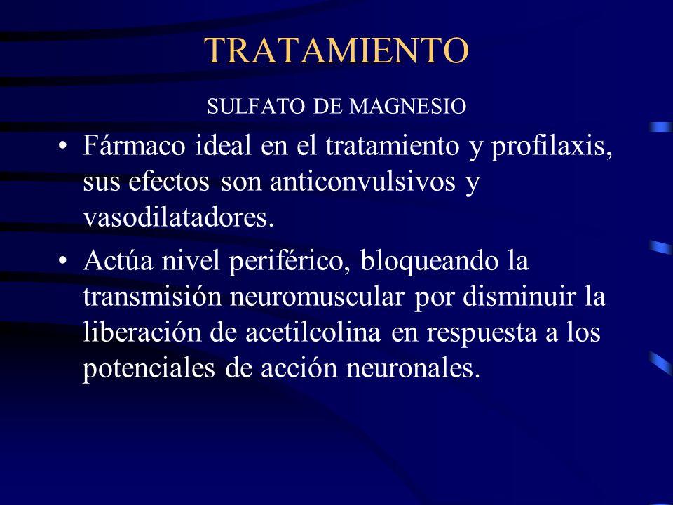 TRATAMIENTO SULFATO DE MAGNESIO. Fármaco ideal en el tratamiento y profilaxis, sus efectos son anticonvulsivos y vasodilatadores.