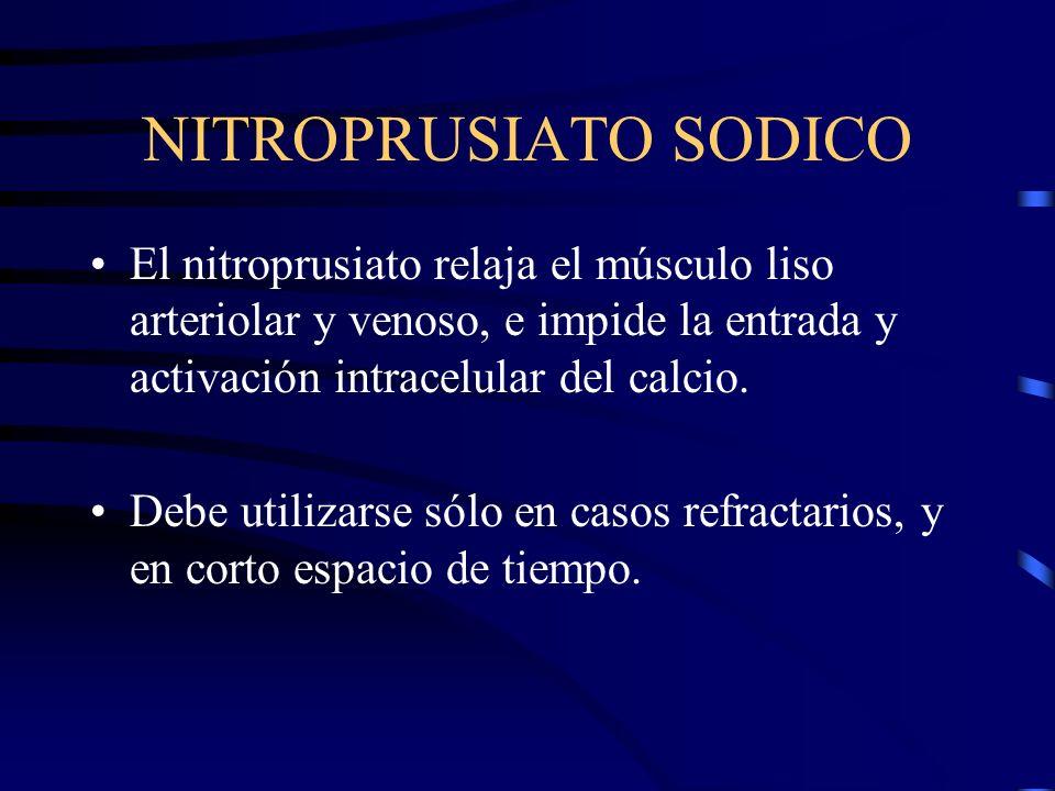 NITROPRUSIATO SODICOEl nitroprusiato relaja el músculo liso arteriolar y venoso, e impide la entrada y activación intracelular del calcio.