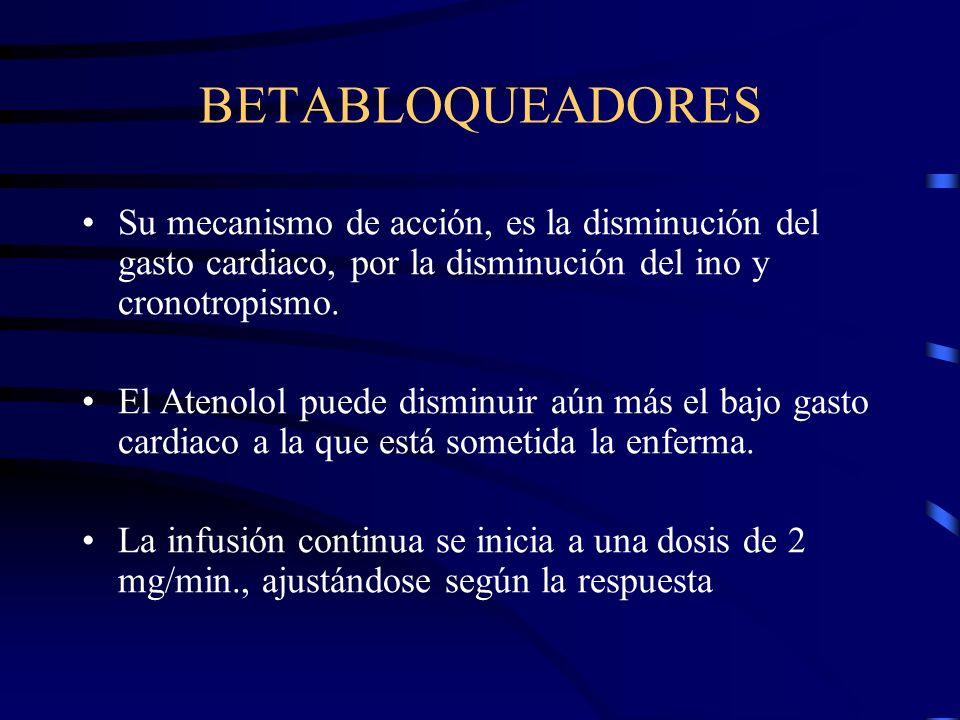 BETABLOQUEADORESSu mecanismo de acción, es la disminución del gasto cardiaco, por la disminución del ino y cronotropismo.