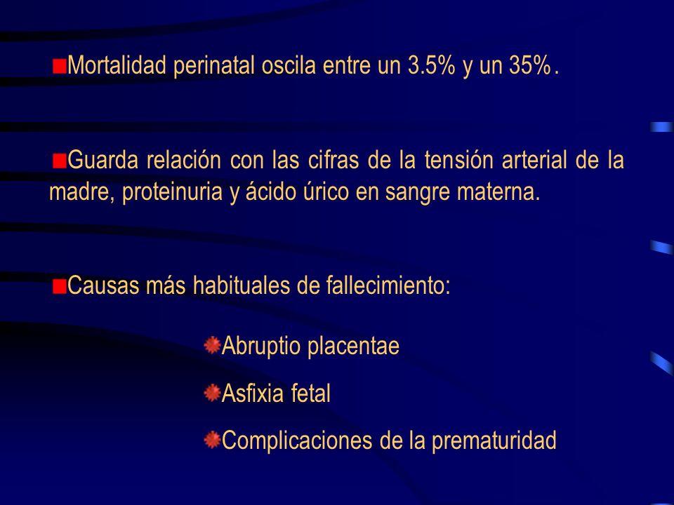 Mortalidad perinatal oscila entre un 3.5% y un 35%.