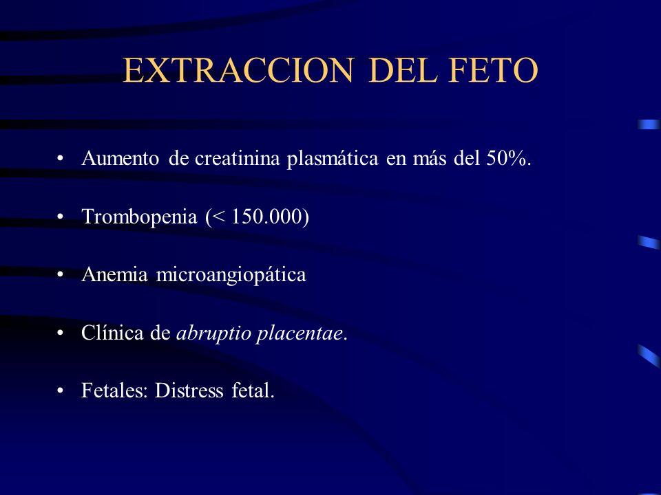 EXTRACCION DEL FETO Aumento de creatinina plasmática en más del 50%.