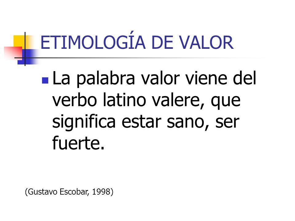 ETIMOLOGÍA DE VALOR La palabra valor viene del verbo latino valere, que significa estar sano, ser fuerte.