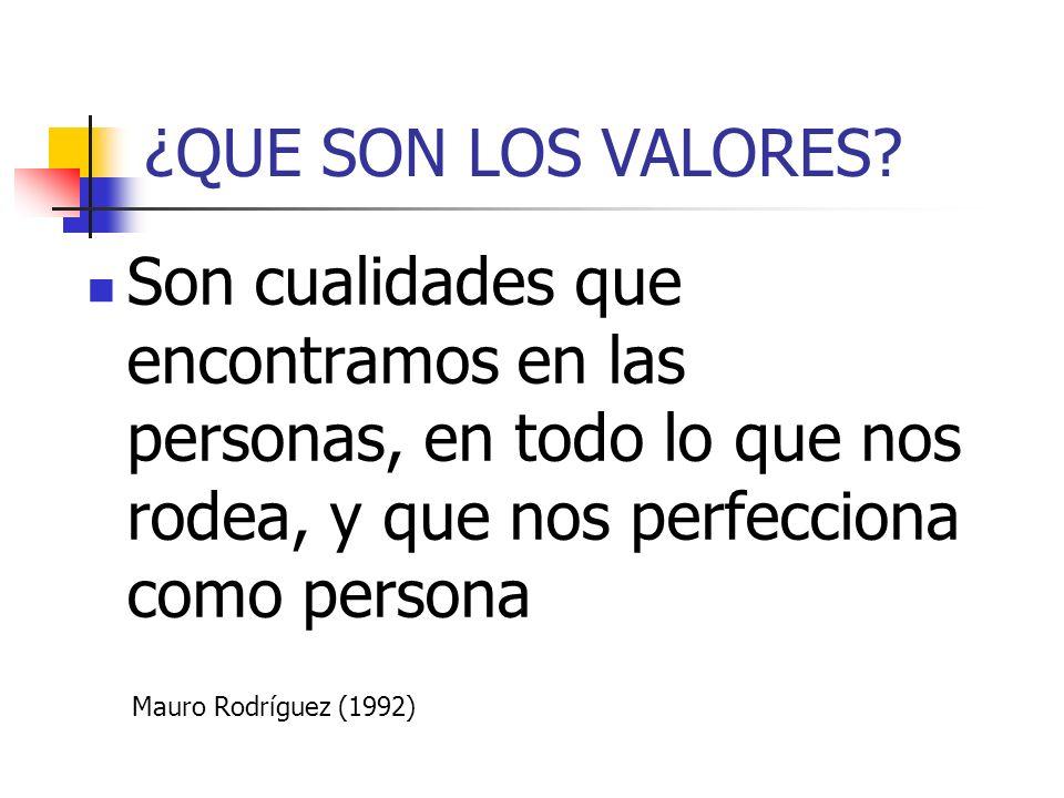 ¿QUE SON LOS VALORES Son cualidades que encontramos en las personas, en todo lo que nos rodea, y que nos perfecciona como persona.