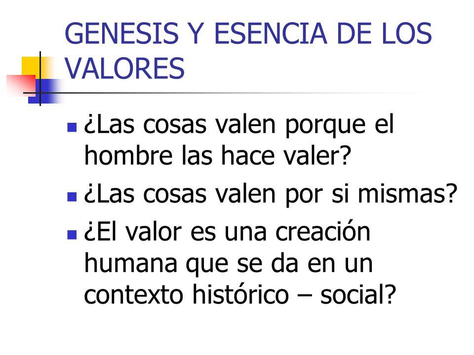 GENESIS Y ESENCIA DE LOS VALORES