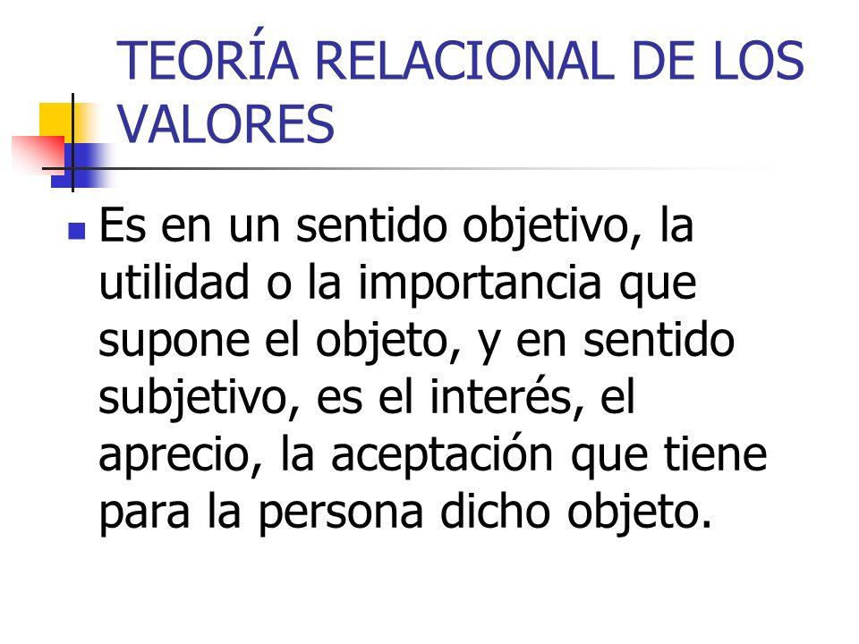 TEORÍA RELACIONAL DE LOS VALORES