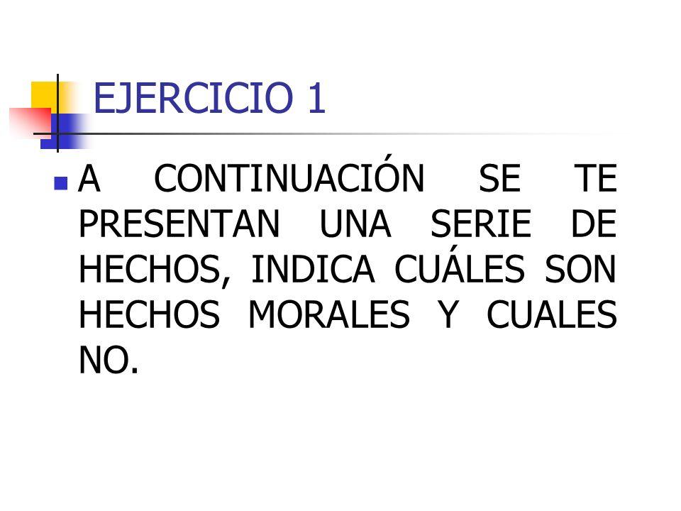 EJERCICIO 1A CONTINUACIÓN SE TE PRESENTAN UNA SERIE DE HECHOS, INDICA CUÁLES SON HECHOS MORALES Y CUALES NO.