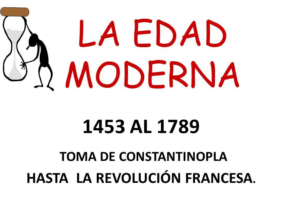 1453 AL 1789 TOMA DE CONSTANTINOPLA HASTA LA REVOLUCIÓN FRANCESA.