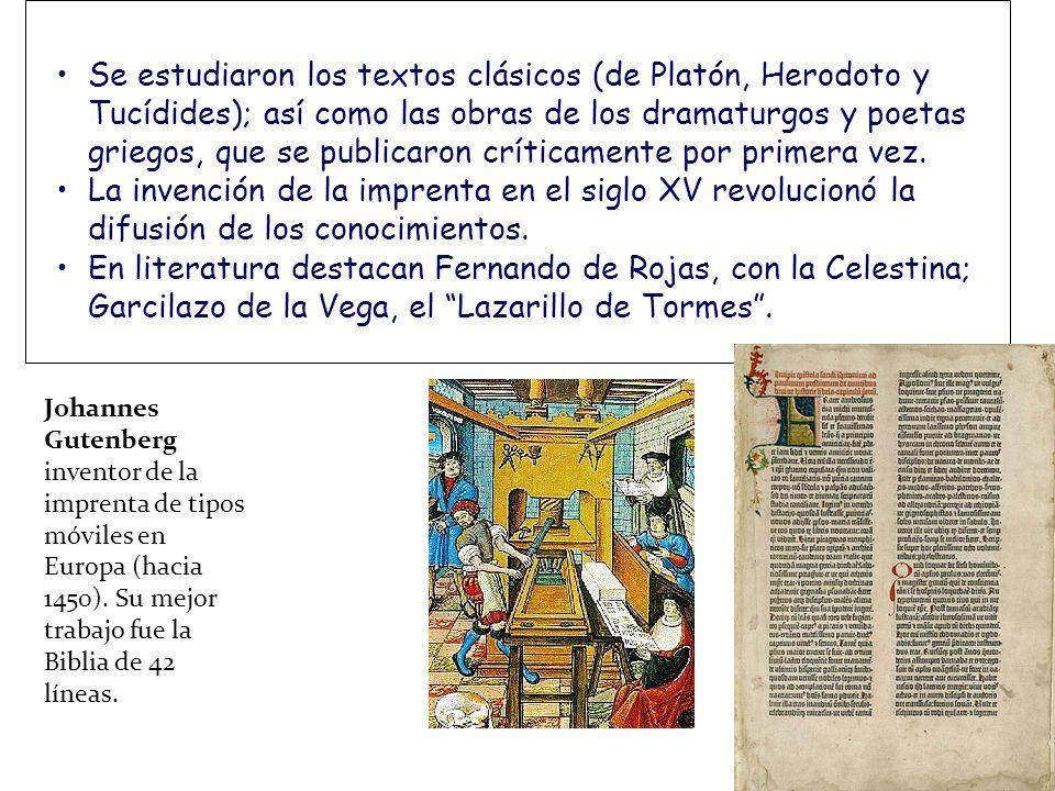 Se estudiaron los textos clásicos (de Platón, Herodoto y Tucídides); así como las obras de los dramaturgos y poetas griegos, que se publicaron críticamente por primera vez.