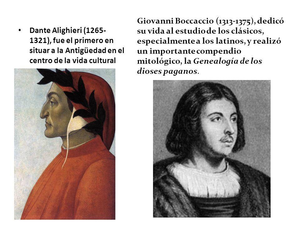 Giovanni Boccaccio (1313-1375), dedicó su vida al estudio de los clásicos, especialmente a los latinos, y realizó un importante compendio mitológico, la Genealogía de los dioses paganos.