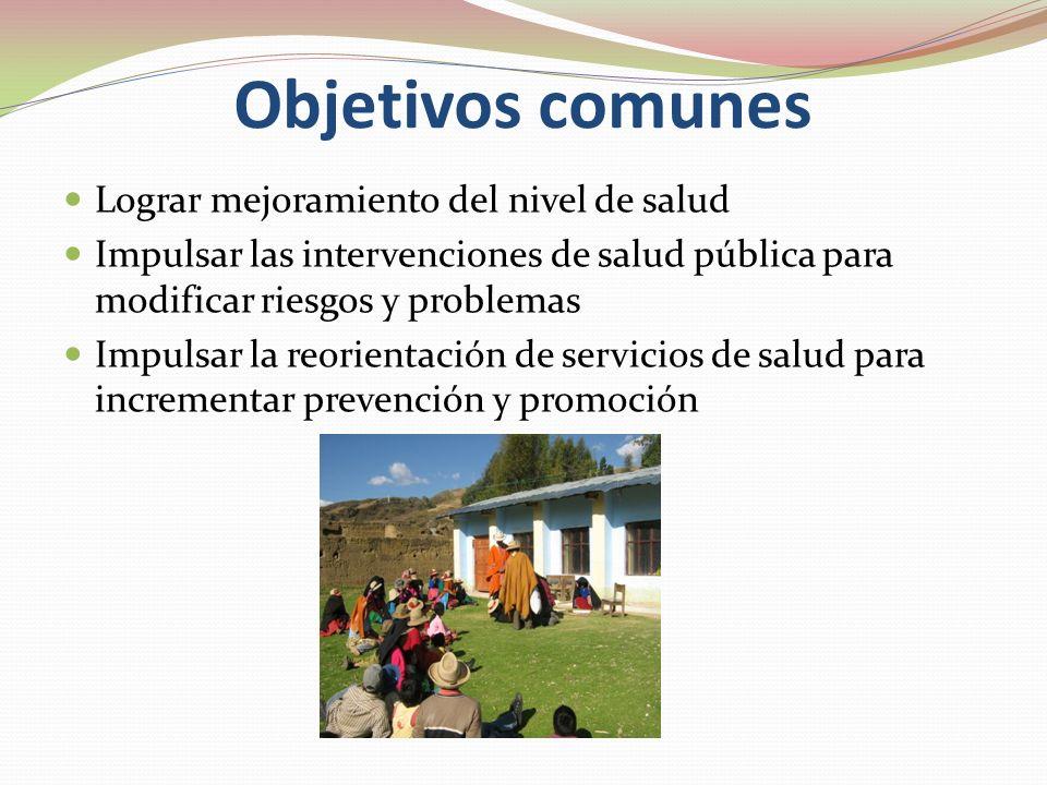 Objetivos comunes Lograr mejoramiento del nivel de salud