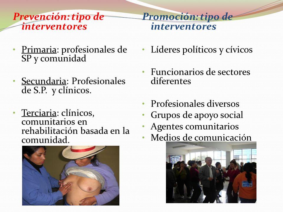 Prevención: tipo de interventores Promoción: tipo de interventores