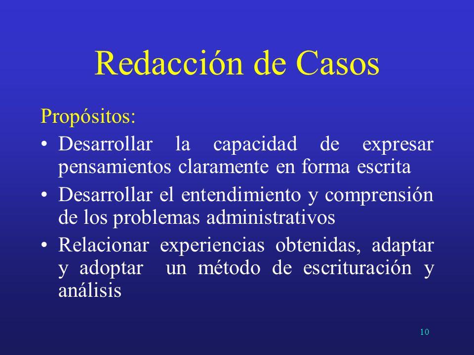 Redacción de Casos Propósitos: