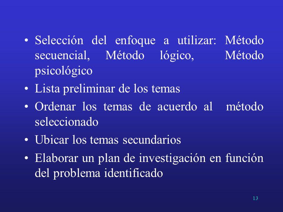 Selección del enfoque a utilizar: Método secuencial, Método lógico, Método psicológico