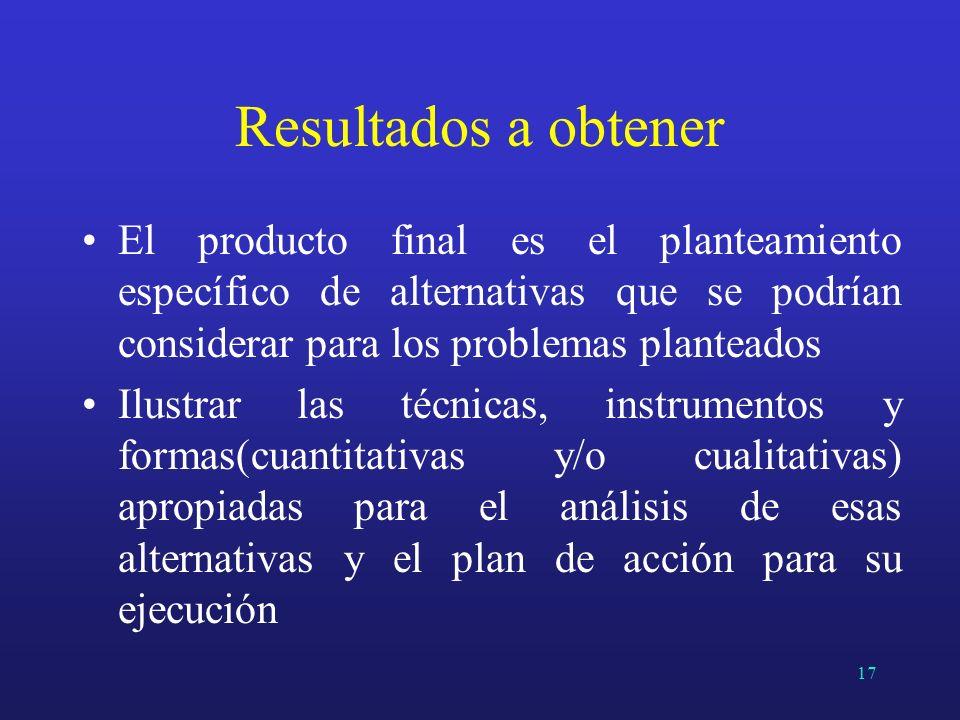 Resultados a obtenerEl producto final es el planteamiento específico de alternativas que se podrían considerar para los problemas planteados.