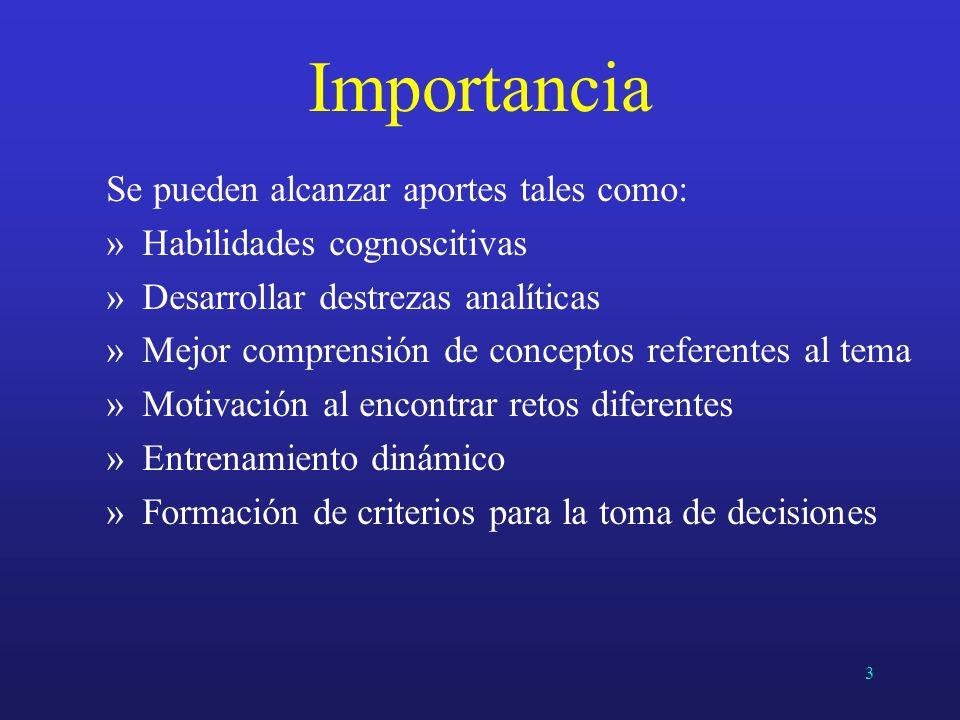 Importancia Se pueden alcanzar aportes tales como: