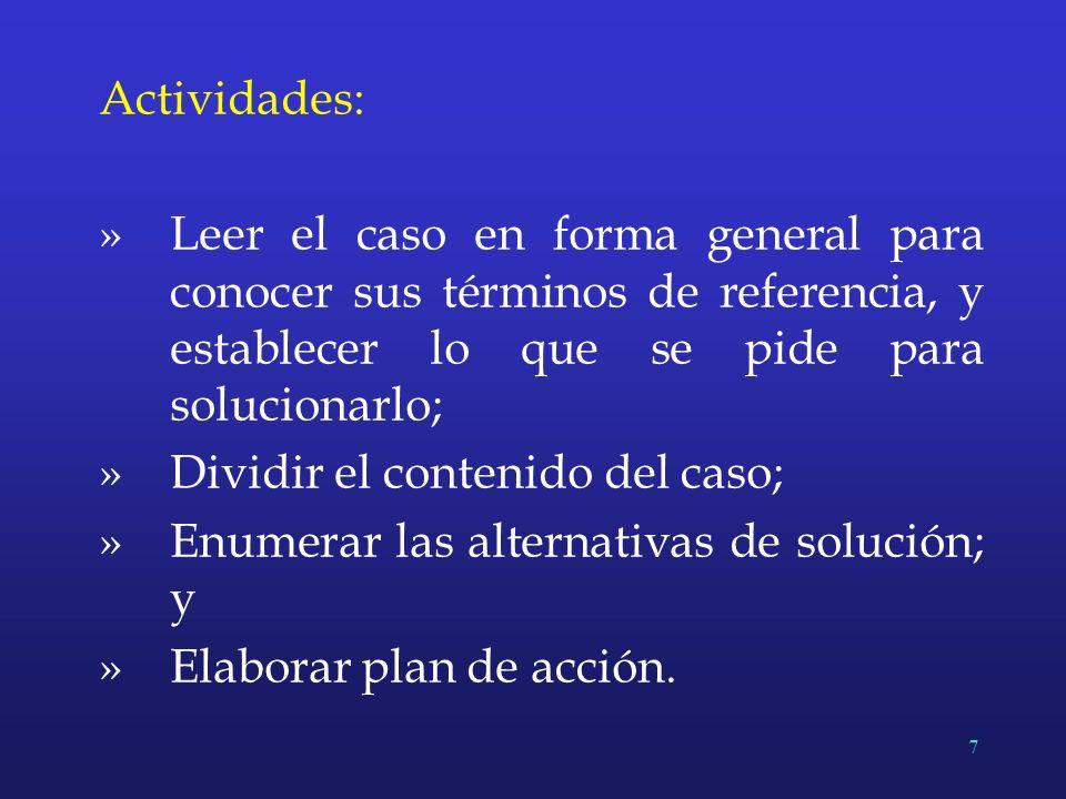 Actividades: Leer el caso en forma general para conocer sus términos de referencia, y establecer lo que se pide para solucionarlo;