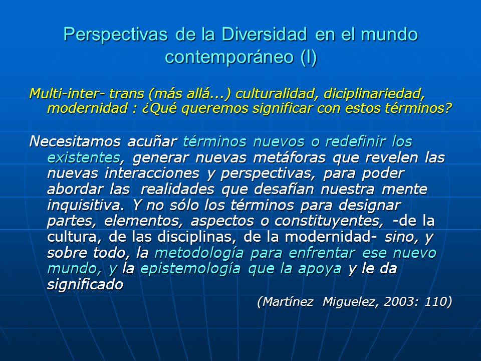 Perspectivas de la Diversidad en el mundo contemporáneo (I)