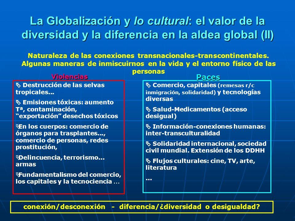 conexión/desconexión - diferencia/¿diversidad o desigualdad