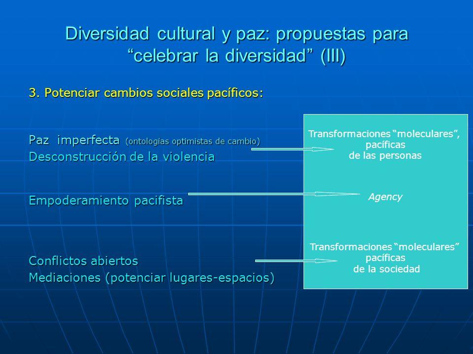 Diversidad cultural y paz: propuestas para celebrar la diversidad (III)
