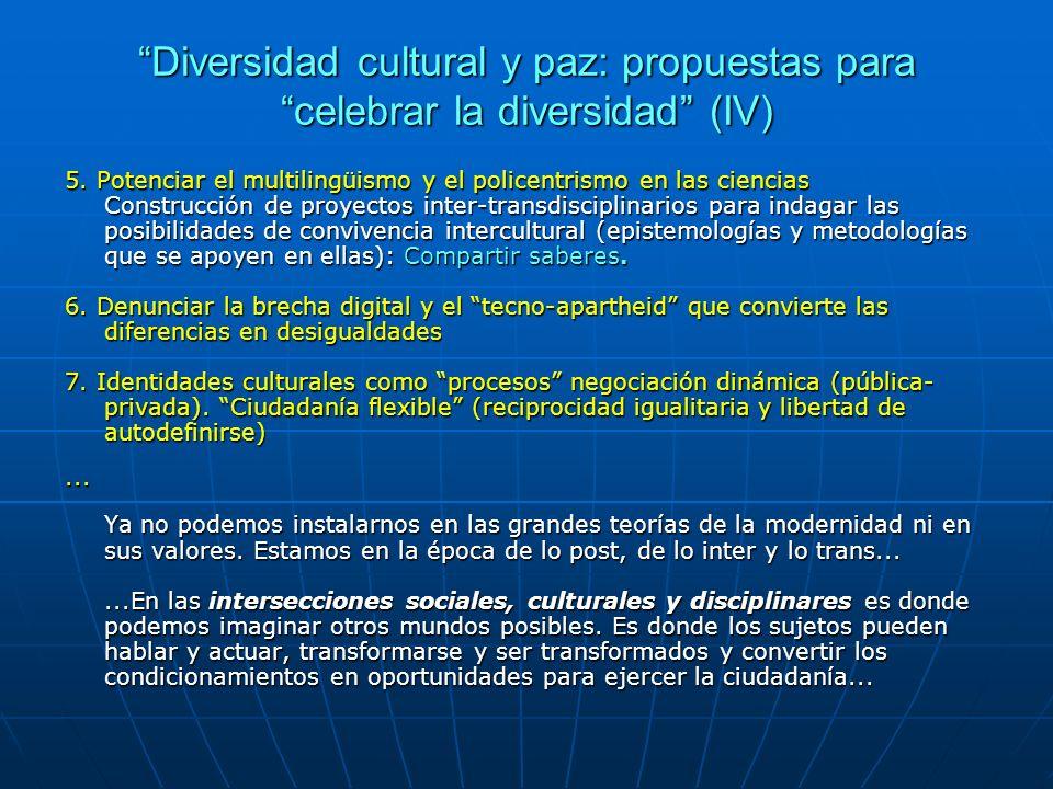 Diversidad cultural y paz: propuestas para celebrar la diversidad (IV)