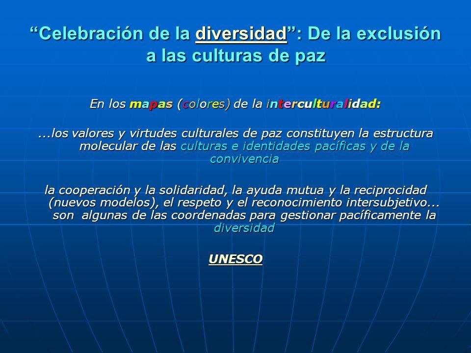 Celebración de la diversidad : De la exclusión a las culturas de paz