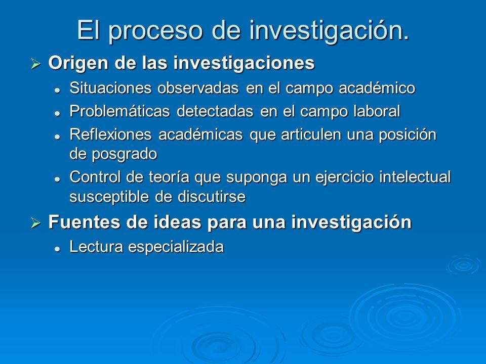 El proceso de investigación.