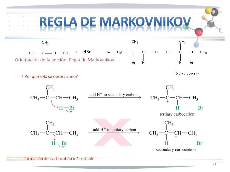 Regla de markovnikov Orientación de la adición: Regla de Markovnikov