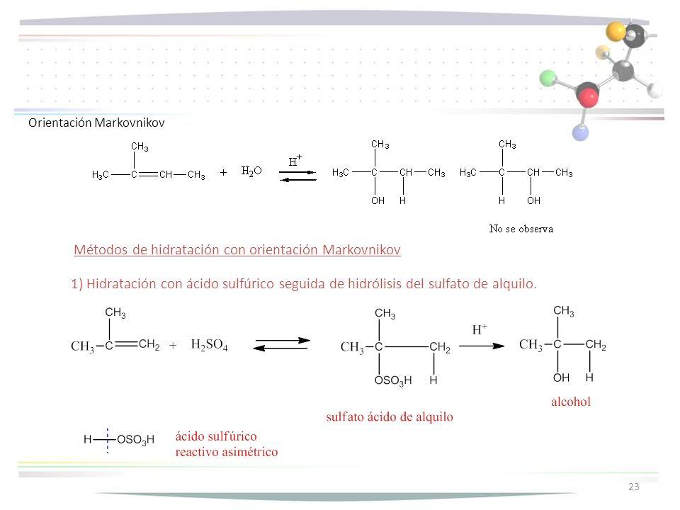 Métodos de hidratación con orientación Markovnikov