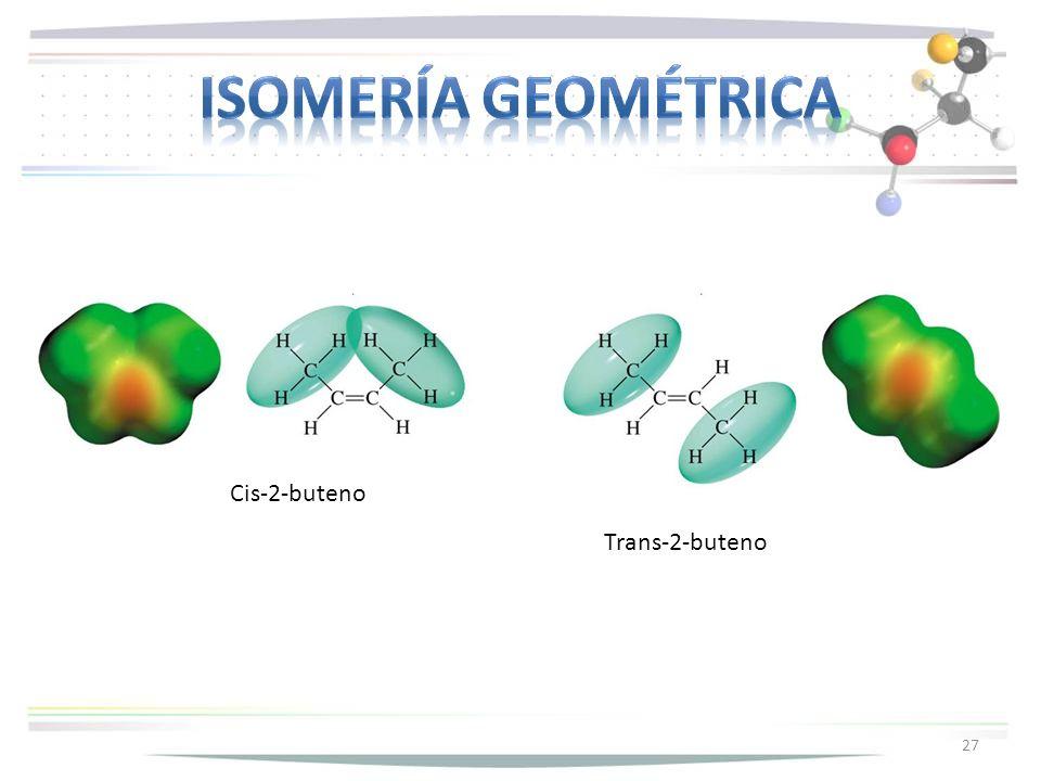 Isomería geométrica Cis-2-buteno Trans-2-buteno