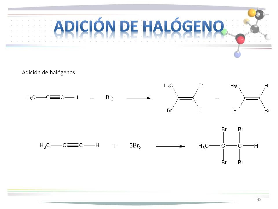 Adición de halógeno Adición de halógenos.