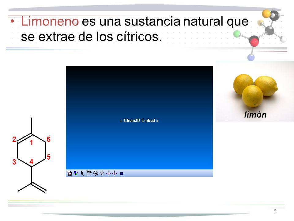 Limoneno es una sustancia natural que se extrae de los cítricos.