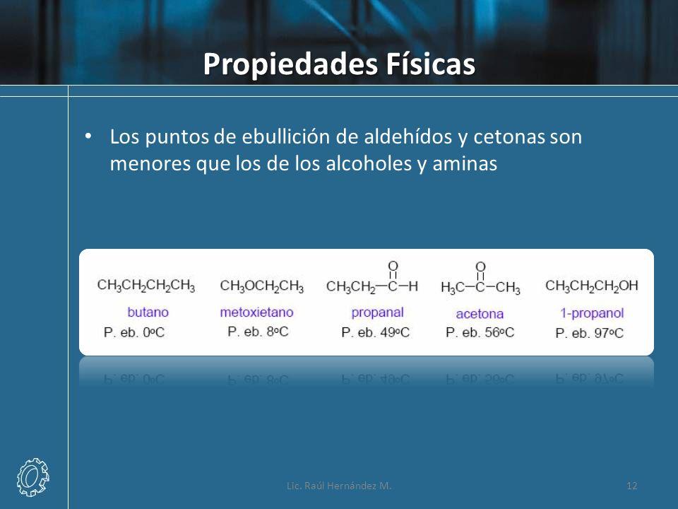 Propiedades Físicas Los puntos de ebullición de aldehídos y cetonas son menores que los de los alcoholes y aminas.