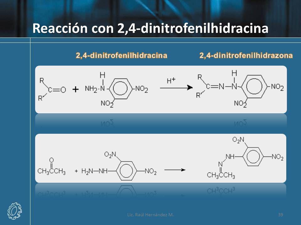 Reacción con 2,4-dinitrofenilhidracina