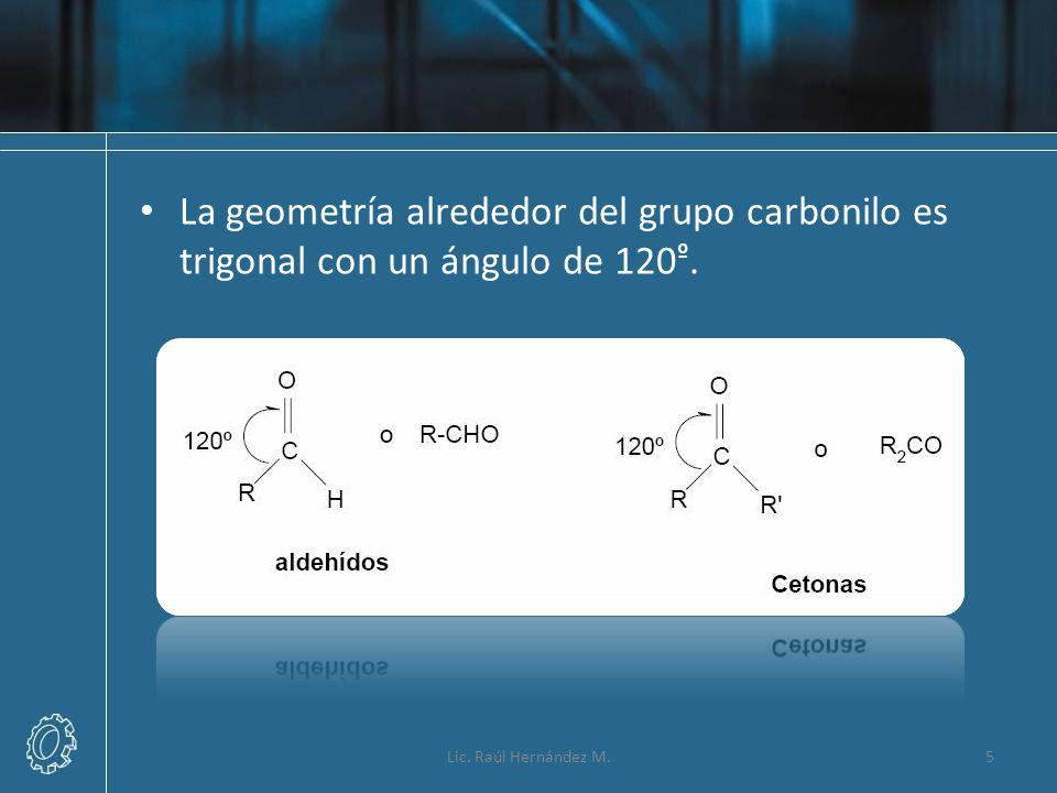 La geometría alrededor del grupo carbonilo es trigonal con un ángulo de 120º.