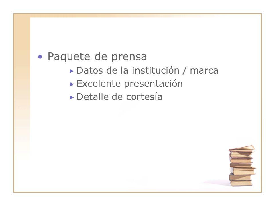 Paquete de prensa Datos de la institución / marca