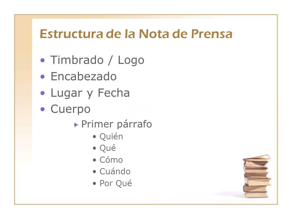 Estructura de la Nota de Prensa