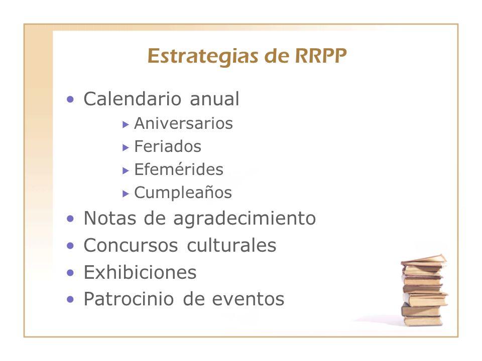 Estrategias de RRPP Calendario anual Notas de agradecimiento