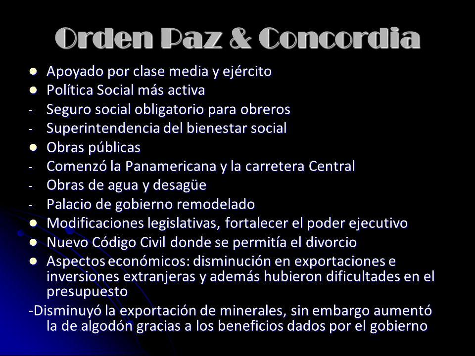 Orden Paz & Concordia Apoyado por clase media y ejército