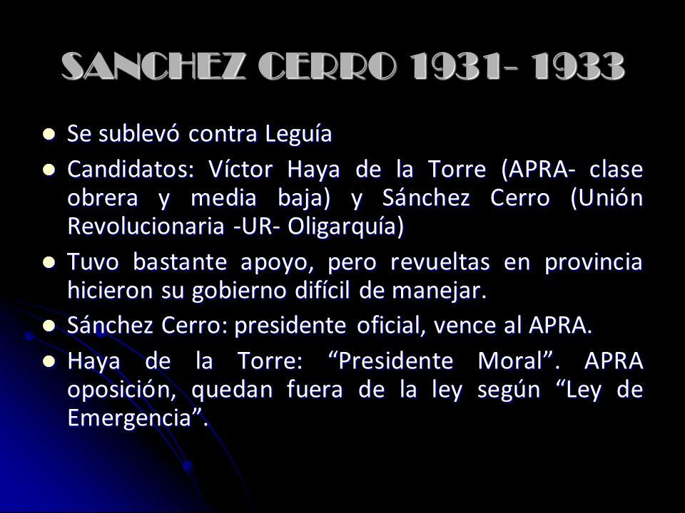 SANCHEZ CERRO 1931- 1933 Se sublevó contra Leguía