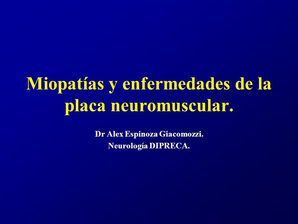 Miopatías y enfermedades de la placa neuromuscular.