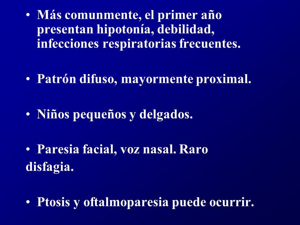 Más comunmente, el primer año presentan hipotonía, debilidad, infecciones respiratorias frecuentes.