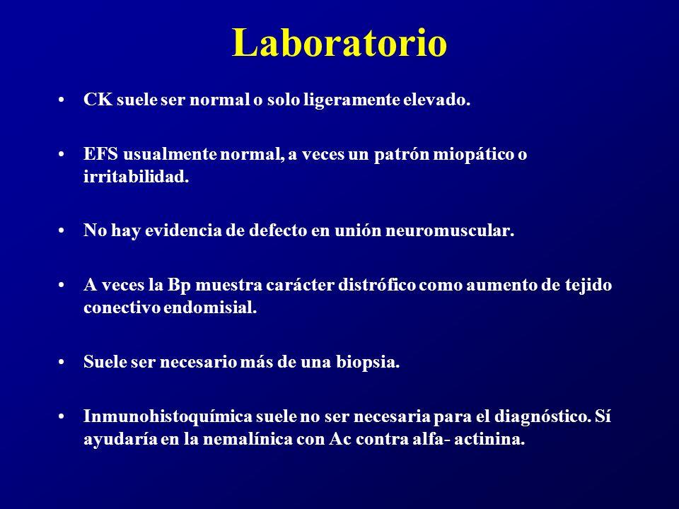 Laboratorio CK suele ser normal o solo ligeramente elevado.